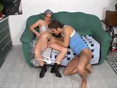 Granny with hairy box sits on a dick
