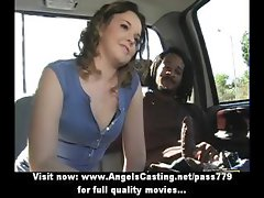 Sassy babe with curly hair does blowjob for afro guy in the car