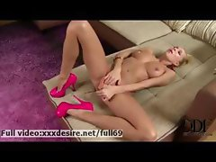 Clara _ Horny blonde playing with her boobs and rubbing her pussy