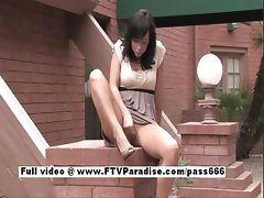 Genuine Adorable cute teen girl fingering pussy outdoor
