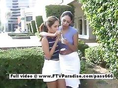 Delightful Two cute girls flashing tits