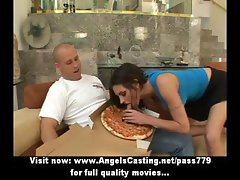Hot brunette does blowjob for guy with pizza on cock while kneeling