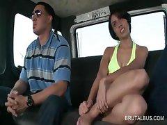 Brunette hooker showing leggs in the sex bus