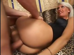 Blonde babe Brigitta Bulgari shows nice ass, blows and does anal