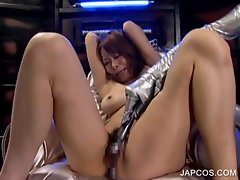 Japanese slave gets twat vibed in 3some