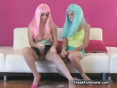 Two horny babes go crazy rubbing part2