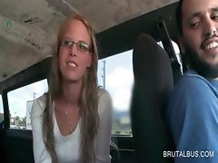 Blonde in glasses has fun in the sex bus