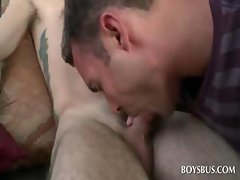 Straight boy gets gay cock sucked in the bus