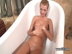 Super pierced blonde adolescent jerking part1