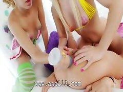 Three anals three tongues inside