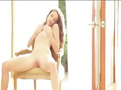 Killer model rubbing the snatch on chair