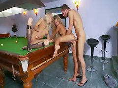 Insane billiards anus sex with lezzies