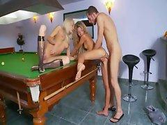 Insane billiards anus sex with lezzies