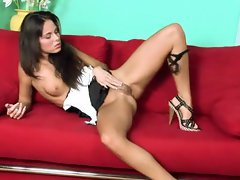 Skinny girl in heels plays with her pink snatch