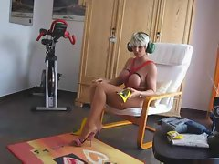 Blonde milf changes into a kinky outfit