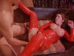 Aggressive anal with this all latex babe