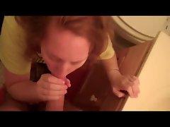 Redhead GF sucks dick in bathroom
