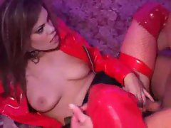 Slut clad in red latex fucked in the ass