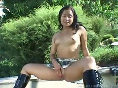 Sexy Latina in boots toys shaved box