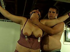 Bound fat chick gets flogged