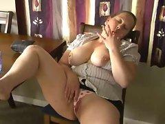 Fatty pulls aside panties to masturbate