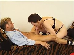 Mature takes banana and his cock in her pussy