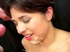 Girls on their backs hit with cum facials