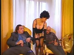 Chick in sexy gloves and her two men