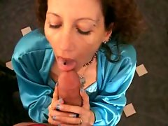 Cum dripping on her face after great milf sex