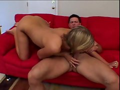 She sucks his dick after it has been in her ass