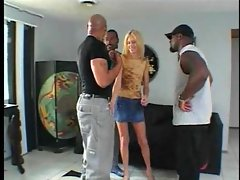 Skinny white girl lets black guys fuck her