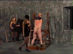 Three mistresses beat the male slave