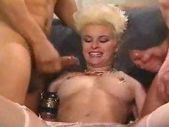 Hot cumshots drench a naughty slut