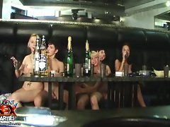 Small titty naked teens drinking and playing pool