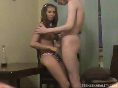 Cute teen sucks her boyfriend's cock