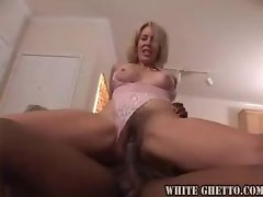 Blonde milf in pink lace devours black guy