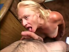 Mature blonde sucking and fucked by cock