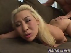 Asian blonde slut with small tits fucked