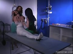 Hot nurses wrap their submissive like a mummy