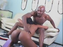 Anal and pussy fucking for black slut
