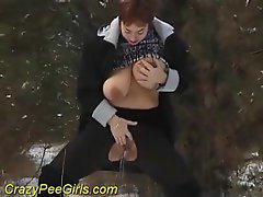 Girl pissing in the snow