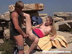 Girl fucked in the rocks outdoors