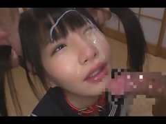 Jap teen facefuck &amp, bukkake