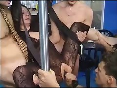Hot girl in fishnet with some guys