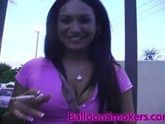 Big Tit teen smoking and flashing in public