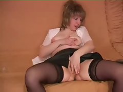 hairy woman shows her pussy