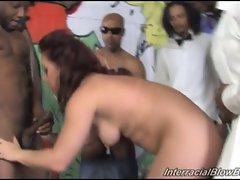 Russian slut Olga at interracial bukkake gangbang session