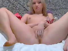 cute dollface strips and masturbate