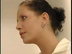 mistress get sexy nurse to suck her strapon