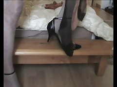 Natasha plays with used stockings wife while she is fucked.